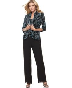 Alex Evenings Magical Sparkle Shell, Jacket & Wide Leg Pants - Womens Dresses - Macy's (Grandmother of the Bride? Over 50 Womens Fashion, Fashion Over 50, Clothes For Women Over 50, Pants For Women, Dresser, Blue Jean Dress, Alex Evenings, Shell, Lace Jacket