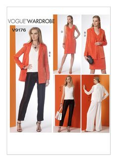 Vogue Notch Collar Back Pleated Jacket, Top, Dress, and Pants Sewing Pattern Sizes Rated Easy to Make Vogue Patterns, Dress Trousers, Jacket Pattern, Jumpers For Women, Sewing Clothes, Dressmaking, Clothing Patterns, Wide Leg Pants, Jackets