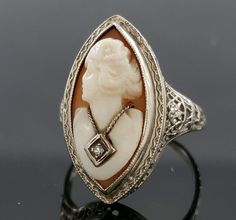 Featured here is an elegant 14k white gold filigree cameo ring. The cameo is a woman with a Rose cut Diamond necklace in a bezel setting. There are some minor scratches on the ring. The cameo is a little loos in the bezel. | eBay!
