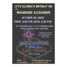 Las Vegas Boulevard Casino Birthdays Parties 21st Custom Announcements Fifty Birthday