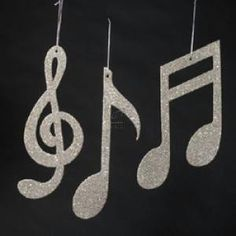 Silver Glitter Music Note Ornament Set. Will try my hand at making these rather than buying them.
