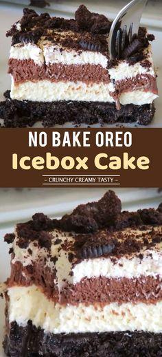 Easy No bake Oreo Icebox Cake Dessert - Homemade Recipes Cold Desserts, Homemade Desserts, Frozen Desserts, No Bake Desserts, Easy Desserts, Delicious Desserts, Oreo Desserts, Easy Chocolate Desserts, Yummy Food