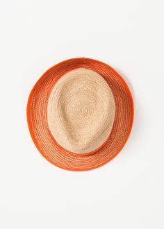 Washboard Hat in Straw/Orange