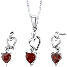 Garnet Pendant Earrings Necklace in Sterling Silver Rhodium Nickel Finish 2.00 Carats Peora http://www.amazon.com/dp/B001RMJ6B4/ref=cm_sw_r_pi_dp_C8y3ub0A6G184
