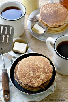 Pancakes (sub tapioca starch with more arrowroot starch; sub stevia for sugar)