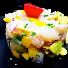 Tartare de daurade Summer  Time Sushi, Eggs, Breakfast, Ethnic Recipes, Food, Morning Coffee, Egg, Meals, Egg As Food