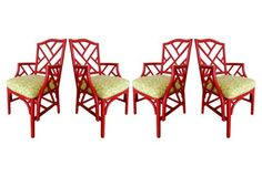Set of four wooden dining chairs with Chinese Chippendale-style lattice patterns on the backs and arms. Finished in red with lightly textured surfaces. Seats are upholstered in green and yellow pattern fabric. Wooden Dining Chairs, Dining Arm Chair, Bamboo Chairs, Chinoiserie Wallpaper, Faux Bamboo, Yellow Pattern, Fabric Patterns, Design Styles, Interior Design
