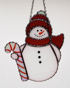 Christmas Holiday Stained Glass Suncatcher  Winter Snowman with candy cane by GLASSbits, $32.00