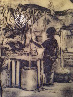 (Before firing) kiln glass sgraffito drawing. 2014 Kelly Crosser Alge