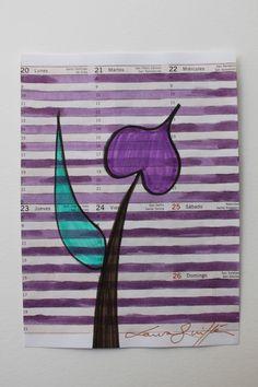 FLOR LILA. TÉCNICA MIXTA SOBRE PAPEL. DISPONIBLE. FLOWER, ART, PAINTING