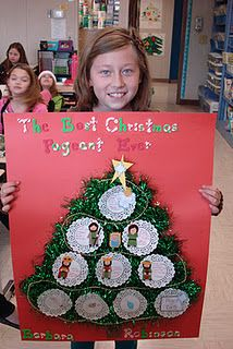 Christmas tree book report-students make ornaments to tell the story