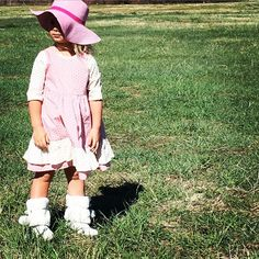 "FRESH From The Meadow-""The Austin Dress"" pale pink with polka dots-and the Prairieoutfitters 41/2 ruffles! #prairieoutfitters #smalltown #designerkidsclothes #slowfashion #handmade"