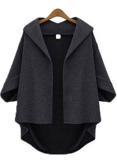 Dark Grey Batwing Sleeve Turndown Collar Woman Cardigans