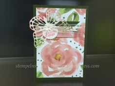 Handmade Birthday Card with Stampin' Up!, Stamps: Hello Life, Colors: Mossy Meadow, Blushing Bride, Thinlits Butterfly, DSP English Garden  https://stempelnstanzenstaunen.wordpress.com/
