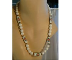 "Vintage 28"" Long White Lucite Beads & Hand-Painted Porcelain Necklace ~ A Great Way to Wear Your Summer Flowers! by MarlosMarvelousFinds, $28.75"