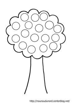 Coloriage arbre à gommettes dessiné par nounoudunord. Plus