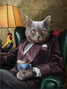Foto Fantasy, Cat People, Cat Costumes, Funny Animal Pictures, Photomontage, Cat Art, Pet Portraits, Cats And Kittens, Funny Cats