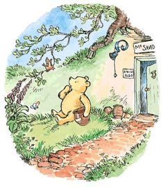 Winnie the Pooh book art / Pooh Bear color illustration / vintage book art / author A.A. Milne