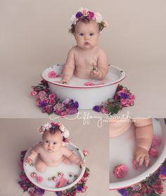 baby milk bath session milk bath photos with flowers baby milk bath photos Milk Bath Photography, Newborn Baby Photography, Newborn Photos, Children Photography, Indoor Photography, 6 Month Baby Picture Ideas, Baby Girl Pictures, Baby Milk Bath, Milk Bath Photos