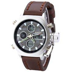 Men's Watches, AMST Luxury Sport Digital Army Military LED Quartz Leather
