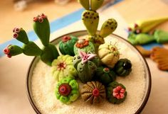 polymer clay potted cacti gardens