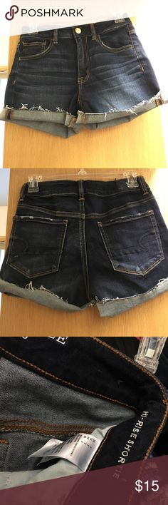 AE Hight rise shortie Excellent condition! These are so cute and so flattering. Brand new last summer and only worn a handful of times, tried on this summer and they are just a little too small. Little imperfection pictured- they came like that from the online order and didn't feel like shipping back. American Eagle Outfitters Shorts Jean Shorts