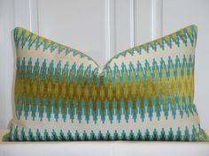Decorative Pillow Cover - Accent Pillow - Throw Pillow - Lumbar Pillow - Teal/Blue - Olive Green