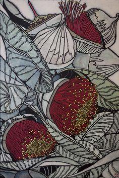 Acrylic on canvas by Julie Hickson Botanical Drawings, Botanical Art, Botanical Illustration, Australian Native Flowers, Australian Artists, Australian Wildflowers, Rabbit Illustration, Illustration Art, Linocut Prints