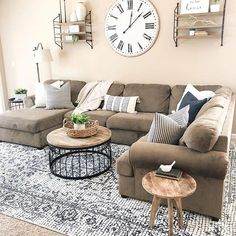 ✔ chic farmhouse living room design and decoration ideas you should know about 13 Modern Farmhouse Living Room Decor, Coastal Living Rooms, Rugs In Living Room, Home And Living, Living Room Designs, Farmhouse Decor, Modern Living, Small Living, Living Room Ideas Tan Couch
