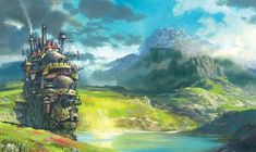Howl's Moving Castle, Wallpaper => This is the first time I have seen Shoujo Anime in a Studio Ghibli Movie. Howl's Moving Castle Movie, Howls Moving Castle Wallpaper, Hayao Miyazaki, Animation, Ghibli Movies, Walt Disney Pictures, Prop Design, Comic, Fantasy Art