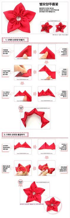 DIY Star Pentagon Ribbon Flower