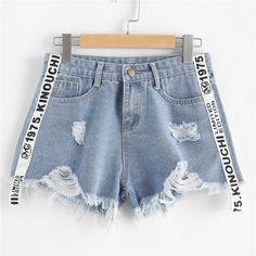 Romwe letter print denim shorts summer beach wear button fly mid waist shorts new arrival blue Distressed Denim Shorts, Washed Denim, Raw Denim, Denim Fashion, Fashion Pants, Fashion Dresses, Romwe, Mode Jeans, Loose Shorts