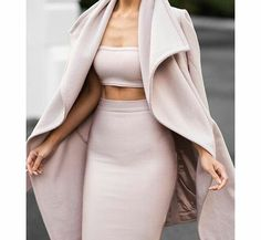 Winter Fashion Outfit Camel Waterfall Overflow Flow Coat Boob Tube Bandeau Top Bodycon High Waisted Skirt Style Trend Fashionista