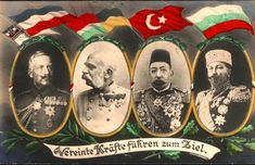 Germany's Kaiser Wilhelm II, Austria's Kaiser and Hungary's King Franz Joseph, the Ottoman Empire's Sultan Mehmed V, Bulgaria's Tsar Ferdinand: The leaders of the Quadruple Alliance.