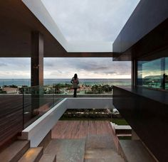 A modern house overlooking the sea or the city