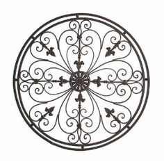 Round Tuscan Wrought Iron Wall Grille With Fleur-De-Lis Accents Wrought Iron Wall Decor, Metal Wall Art Decor, Photo Wall Decor, Wall Decor Pictures, Tuscan Decorating, Decorating Blogs, Interior Decorating, Interior Design, Iron Patio Furniture