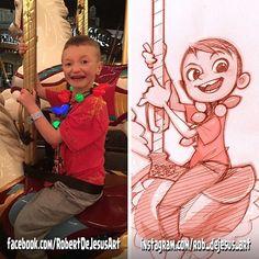 4p-mom pencil sketch/digitally shaded.    #merrygoround #disney #happy #glee #christmaslights #bulbs #horses #boy #draw #drawing #sketch #pencildrawing #pencil