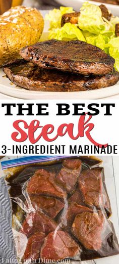 The Best Steak Marinade – only 3 ingredients This is by far the best and easy Steak Marinade recipe. It has only three easy ingredients and is packed with flavor. You will love this marinade for steak! Venison Steak Marinade, Homemade Steak Marinade, Steak Marinade For Grilling, Steak Marinade Recipes, Marinated Steak, Beef Recipes, Cooking Recipes, Easy Steak Recipes, Health And Fitness