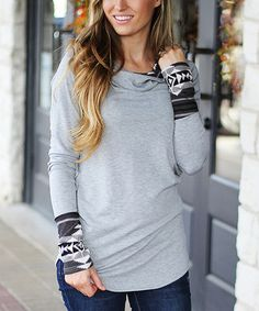 Love this Gray & Black Geometric Accent Hoodie - Women on #zulily! #zulilyfinds
