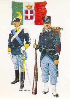 """Regio Esercito - Sottotenente del """"Genova Cavalleria"""" (1893-1899) e Sergente del 66° Reggimento Fanteria (1901-1902)"""