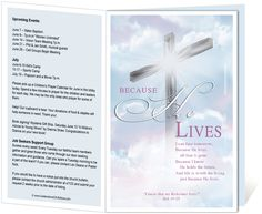 "Church Bulletin Templates : Cross Church Bulletin Template with embedded script ""Because He Lives"""