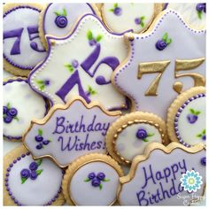 Ideas For Birthday Cake Ideas For Mom Purple - Birthday Cake Blue Ideen 70th Birthday Party Ideas For Mom, Happy 75th Birthday, 75th Birthday Parties, Birthday Cake For Mom, Purple Birthday, Birthday Cakes For Women, Birthday Favors, Birthday Cookies, Husband Birthday