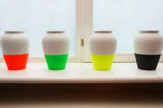 Fluro Vases Porcelain Vase by La Tête Au Cube: Fluo Vase Cubes, Neon Crafts, Luau Crafts, Summer Crafts, Kid Crafts, Vase Design, Ideias Diy, White Vases, Neon Colors