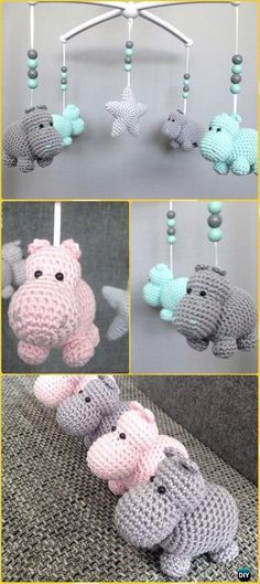Different Language - Crochet Amigurumi Hippo Mobile Free Pattern - Amigurumi Crochet Hippo Toy Softies Free Patterns Crochet Hippo, Crochet Baby Mobiles, Crochet Mobile, Crochet Baby Toys, Crochet Gratis, Crochet Toys Patterns, Crochet Patterns Amigurumi, Cute Crochet, Crochet For Kids