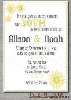 Wedding Anniversary Flowers  Invite