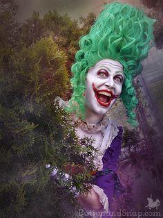 Original Jokerette handmade cosplay - a genderswapped Joker in century style Comic Book Characters, Wiccan, Refashion, Harley Quinn, 18th Century, Joker, Wonder Woman, Photoshoot, Cosplay