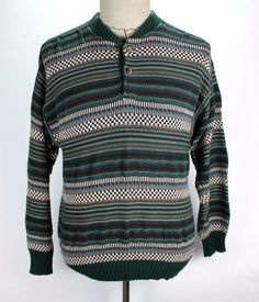 Pendleton Henley Sweater Shirt Mens size Medium Pullover - Warm! made in USA EUC #Pendleton #Henley