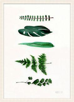Fem grønne blade A4