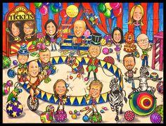 Custom caricature, retirement gift, retirement party, retirement women, retirement men, portrait caricature, portrait cartoon, caricatures by LaughingPencilsArt on Etsy