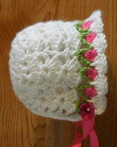 PDF CROCHET PATTERN Tulip Baby Bonnet 0-9 months sizes Baby Girl Crochet, Crochet Baby Booties, Crochet For Kids, Crochet Baby Bonnet, Crochet Hats, Knit Crochet, Kids Hats, Pdf Patterns, Baby Patterns